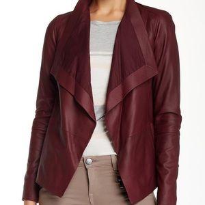 Vince Dark Scarlet Neck Burgundy Leather Jacket
